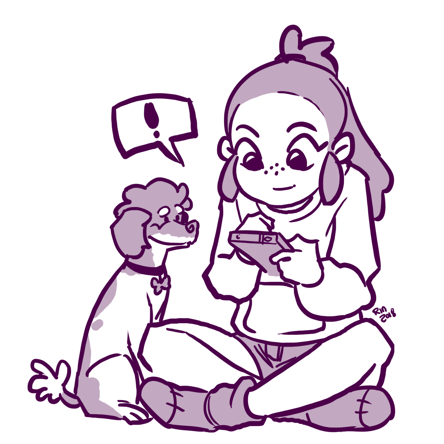 Social Links - Rin using a phone with her dog.